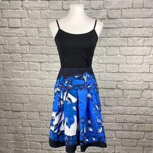 Tahari Blue Floral Animal Print Skirt